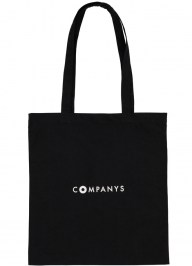 black printed cotton tote bag