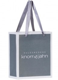 grey paper bag with satin ribbon