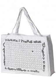 white printed cotton bag cc13